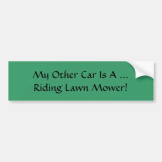 Mein anderes Auto… ist ein Reitrasenmäher! Autoaufkleber