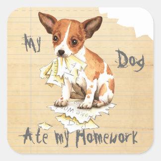 Mein Chihuahua aß meine Hausaufgaben Quadratischer Aufkleber