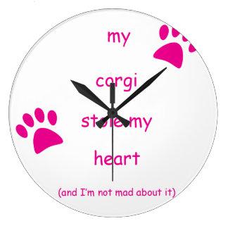 Mein Corgi stahl mein Herz Große Wanduhr