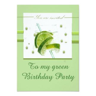 Mein grünes Geburtstags-Party 12,7 X 17,8 Cm Einladungskarte