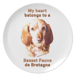 Mein Herz gehört einem Dachshund Fauve de Bretagne Melaminteller