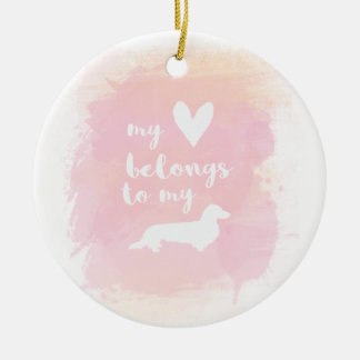 """""""Mein Herz gehört meinen dachs"""" rosa Kalligraphie Keramik Ornament"""