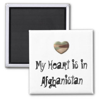 Mein Herz ist in Afghanistan-Magneten Quadratischer Magnet