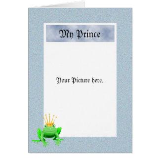 Mein Prinz, grüner Frosch mit Krone, Karte