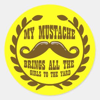 Mein Schnurrbart holt alle Mädchen zum Yard Runder Aufkleber