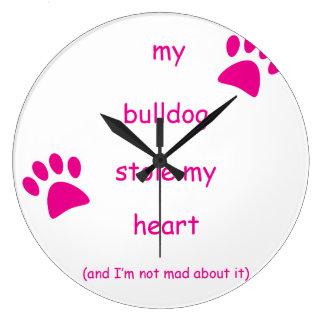 Meine Bulldogge stahl mein Herz Große Wanduhr