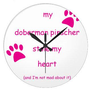 Meine Dobermannpinscher-Stola mein Herz Große Wanduhr