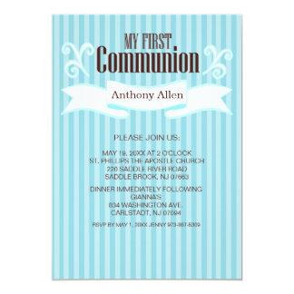 Meine erste Kommunions-Jungen-blaue gestreifte 12,7 X 17,8 Cm Einladungskarte