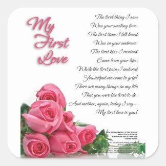 Meine erste Liebe-Poesie-Kunst durch Stanley Quadratischer Aufkleber