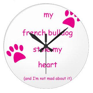 Meine französische Bulldogge stahl mein Herz Große Wanduhr