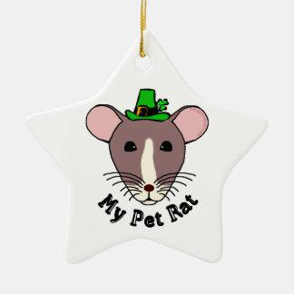 Meine Haustier-Ratte (irisch) Keramik Stern-Ornament