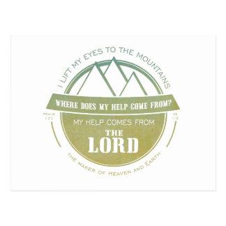 Meine Hilfe kommt vom Lord, grüner Logo-Vers Postkarte
