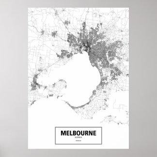 Melbourne, Australien (Schwarzes auf weißem, Poster