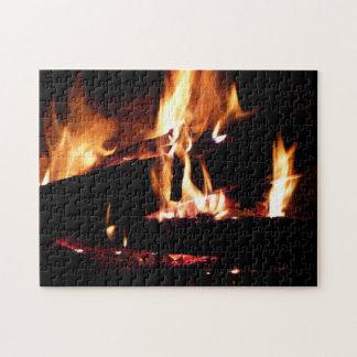 Meldet die Kamin-warme Feuer-Fotografie an Puzzle