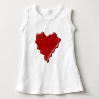 Melissa. Rotes Herzwachs-Siegel mit Namensmelissa Kleid