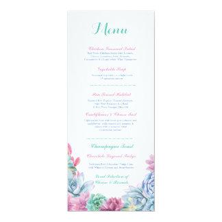 Menü-Hochzeits-Empfangrustikale PastellSucculents 10,2 X 23,5 Cm Einladungskarte
