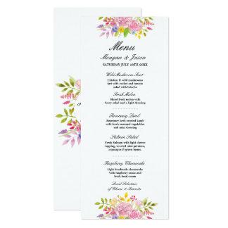 Menü-Hochzeits-Empfangs-Rosawreath-Blumen-Karten 10,2 X 23,5 Cm Einladungskarte