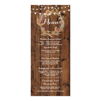 Menü-Hochzeits-Empfangs-rustikale hölzerne 10,2 X 23,5 Cm Einladungskarte