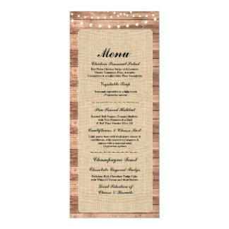 Menü-Hochzeits-Empfangs-rustikale Karte