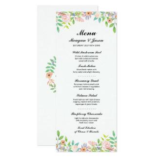 Menü-Hochzeits-Empfangs-Wasserfarbe-Blumen-Karten 10,2 X 23,5 Cm Einladungskarte