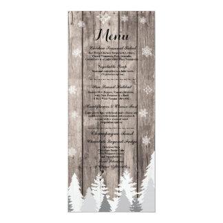 Menü-Winter-Hochzeits-Empfangs-hölzerne Karte