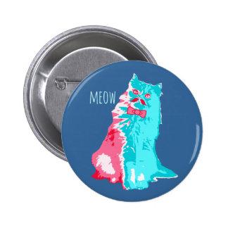 Meow-Schnurrbart-Miezekatze Runder Button 5,1 Cm