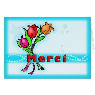 MERCI Franzosen danken Ihnen die Blumen, die Gruß Karte