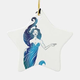 MERMOM niedliches Mädchen Keramik Stern-Ornament
