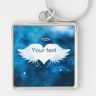 Metall quadratisches Keychain - Engel des Herzens Schlüsselanhänger