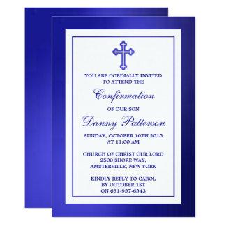 Metallische blaue quere heilige Kommunion oder Karte