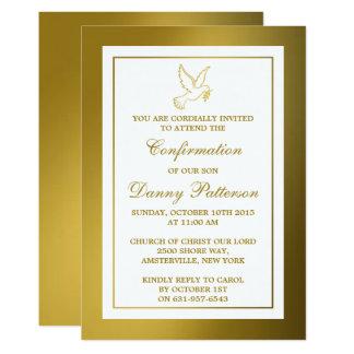 Metallische Goldtauben-heilige Kommunion oder 12,7 X 17,8 Cm Einladungskarte