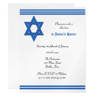 Metallische Mittagessen-Empfangs-Bar Mitzvah 10,8 X 14 Cm Einladungskarte