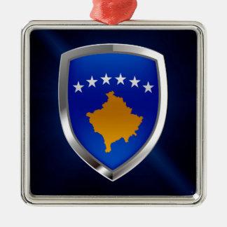 Metallisches Emblem Kosovos Silbernes Ornament
