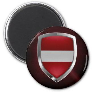 Metallisches Emblem Lettlands Runder Magnet 5,1 Cm
