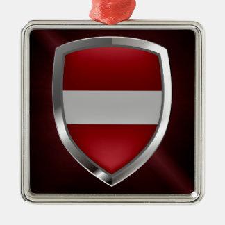 Metallisches Emblem Lettlands Silbernes Ornament