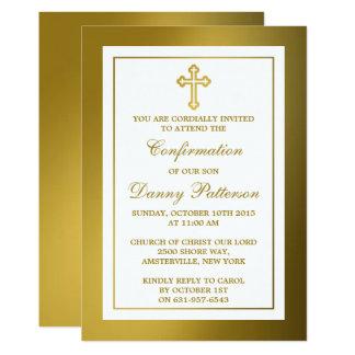 Metallisches Goldkreuz-heilige Kommunion oder 12,7 X 17,8 Cm Einladungskarte