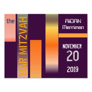 Metallisches Streifen-Schläger Mitzvah Bar Mitzvah 10,8 X 14 Cm Einladungskarte