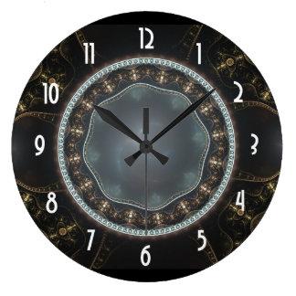 Metallisches verziertes Steampunk Fraktal-Bild Uhren