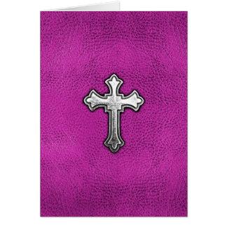Metallkreuz auf rosa Leder Mitteilungskarte