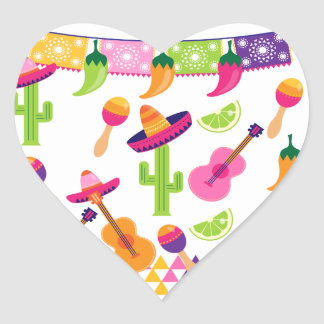 Mexikanischer Fiesta-PartySombrerosaguaro-Limone Herz-Aufkleber