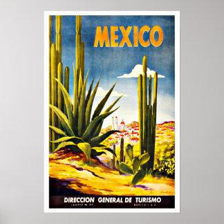 Mexiko-Kaktus-Vintage Reise Poster