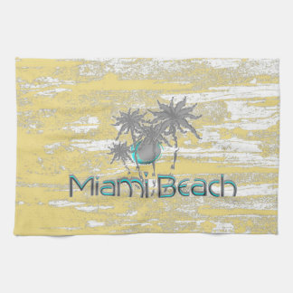 Miami Beach, Florida, Palmen, Grunge cool Küchentuch