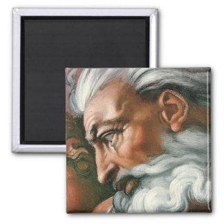 Michelangelo-Gott in der Schaffung von Adam Quadratischer Magnet