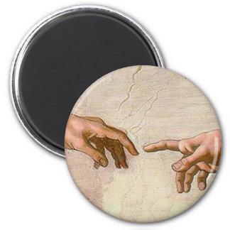 Michelangelo-Schaffung von Adam Runder Magnet 5,1 Cm