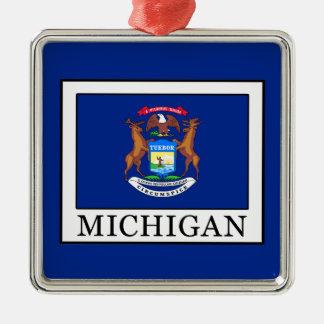 Michigan Quadratisches Silberfarbenes Ornament