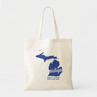 Michigan | stoppen nicht, | Blau zu glauben Budget Stoffbeutel