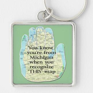 Michiganschlüsselketten Silberfarbener Quadratischer Schlüsselanhänger