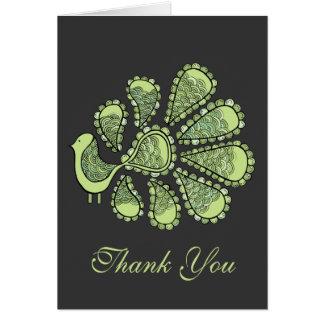 Midori danken Limone Pfau-Hochzeit Ihnen Anmerkung Karte