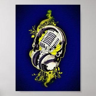 Mikrofon u. Kopfhörer Poster