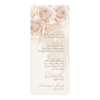 Milch-Rosen-Hochzeits-Menü II 10,2 X 23,5 Cm Einladungskarte